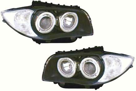 【M's】E87 BMW 1シリーズ ~07y 4-リング プロジェクター 4灯 キセノンヘッドライト(LOビーム:6000K/HIビーム:ハロゲン) タイプ-1(クリスタル ホワイトリング付/クリア・ブラック)新品
