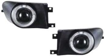 【M's】E39 BMW 5シリーズ(~99y 前期/セダン・ツーリング)LEDイカリング プロジェクターハロゲン フォグランプ(タイプ-1)新品