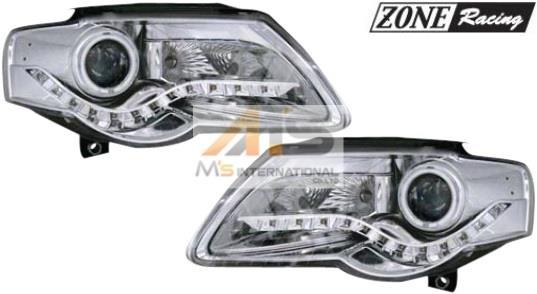 【M's】VW パサート 3C/デーライトルックLED ポジションライト+CCFL2-リング付 プロジェクター Bi-ハロゲンヘッドライト タイプ-3(291195)新品 高品質 ZONE Racing ゾーンレー シング