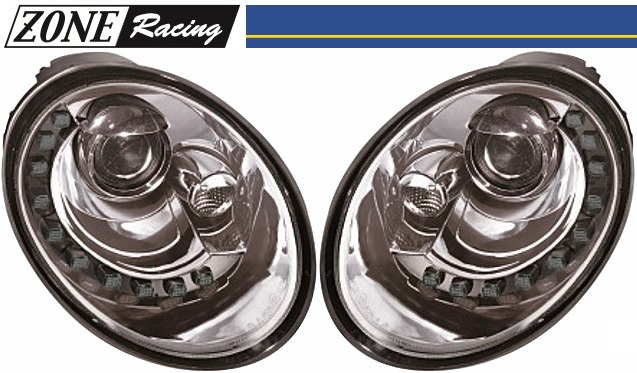 【M's】VW ニュービートル 後期(05y-10y)ZONE RACING製 The Beetle-ルック プロジェクター Bi-ハロゲン ヘッドライト Type-2 (クリアークロム)//社外品 ゾーンレーシング 291518