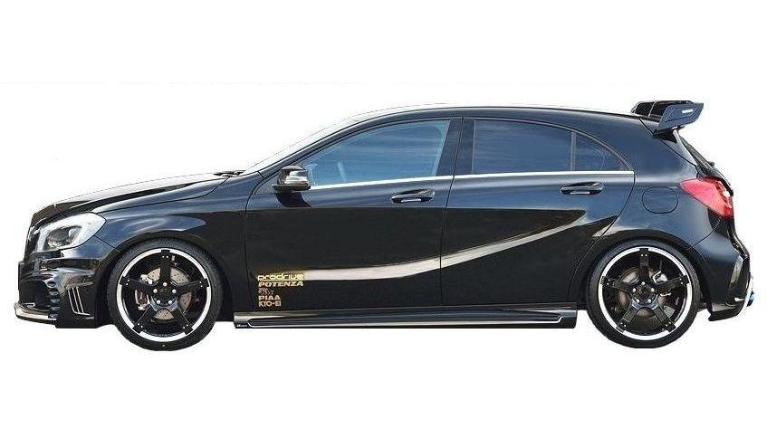 【M's】ベンツ W176 A250 前期 サイド ステップ / ROWEN/ロエン エアロ // メルセデス Mercedes Benz Aクラス / シュポルト / 4マティック / 1C001J00/ スポイラー スカート