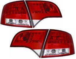 【M's】アウディ AUDI A4 8E ワゴン 05y~ LED テールレンズ左右(レッド/クリスタル クリア・タイプ-1)新品