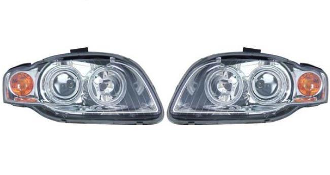 【M's】AUDI アウディA4(B7 8E/05~07y)4リング プロジェクター4灯ハロゲンヘッドライト(クリア/ホワイトリング付)新品