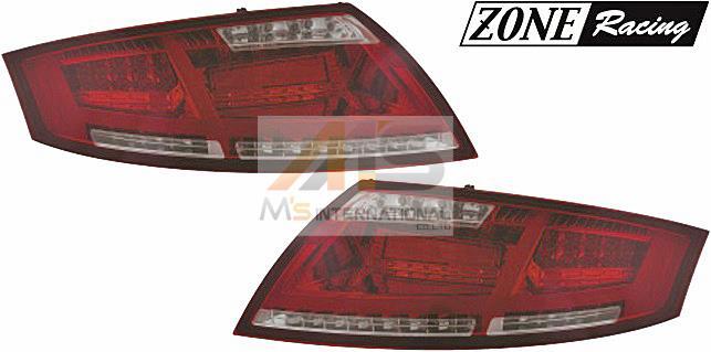 【M's】アウディ TT 8J(06y-14y)ZONE RACING製 8S-ルック LED テール レンズ Type-1(スモーク/ダークレッド)//シーケンシャル 流れる ウィンカー機能付 ランプ ライト ゾーンレーシング TT/TTS/TTRS クーペ/ロードスター 211555