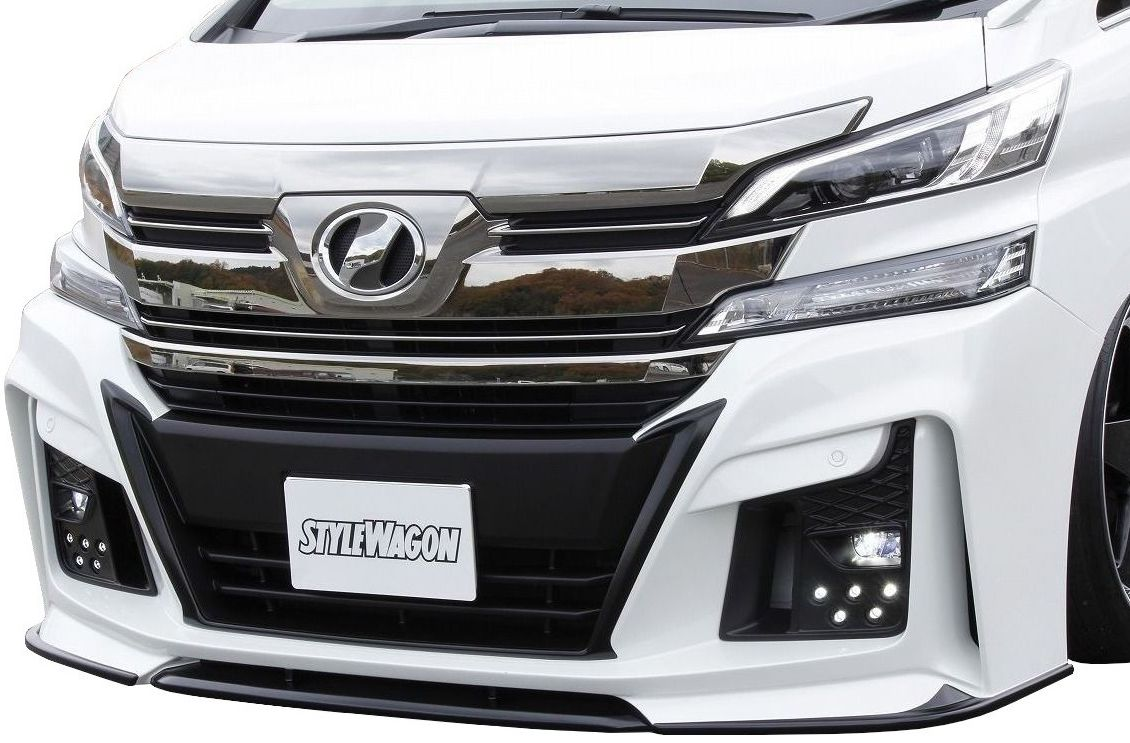 【M's】ヴェルファイア 30 フロント バンパー LED デイライト付 / AIMGAIN エアロ // トヨタ TOYOTA VELLFIRE 30 / DBA - AGH GGH 30W 35W / Front Bumper Spoiler with LED Daylight