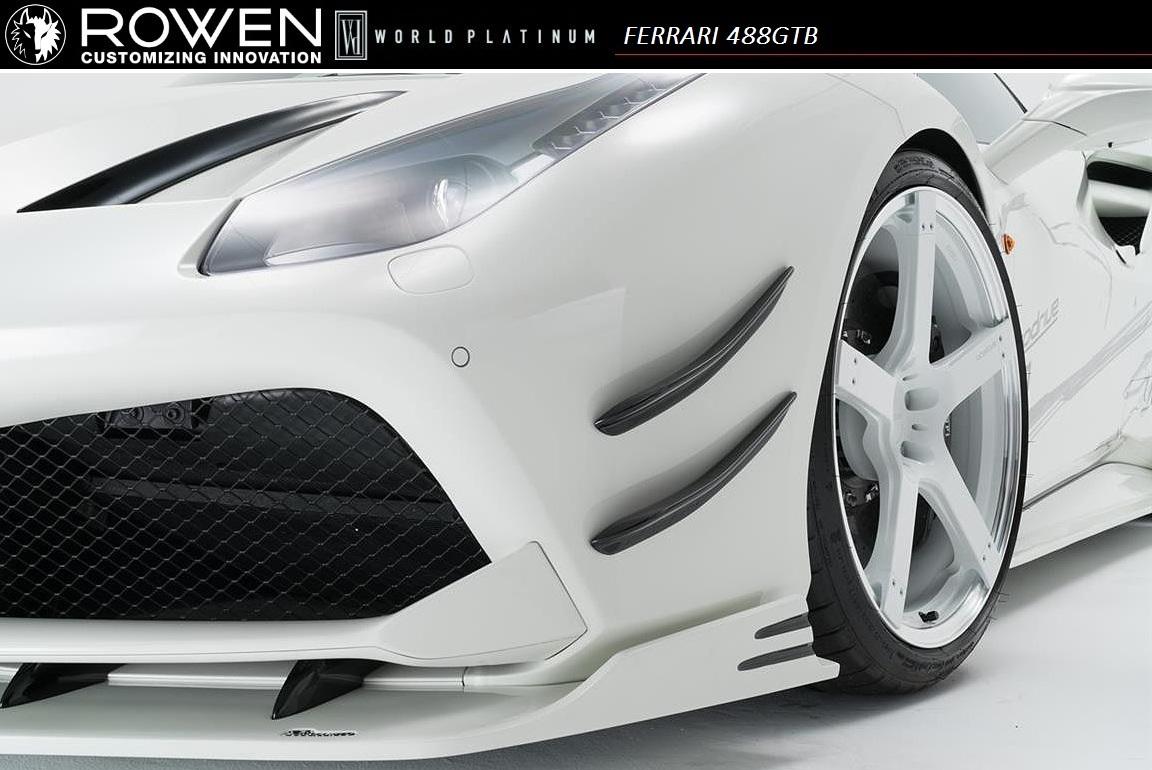 【M's】Ferrari 488 GTB フロント カナード FRP / ROWEN/ロエン エアロ// WORLD PLATINUM / フェラーリ front canard / 1F003A01