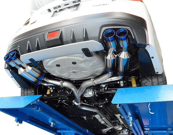 【M's】 SUBARU WRX S4 VAG 専用 両側 4本出し フル チタン マフラー 事前認証取得 / ROWEN / ロエン// PREMIUM01TR HEAT BLUE TITAN EXHAUST / スバル DBA-VAG / 1S007Z02TR 純正・ROWENリアバンパー対応