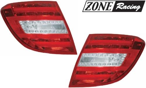 【M's】W204 AMG ベンツ Cクラス ワゴン(07y-11y)ZONE Racing製 後期12y-ルック LEDテールレンズ Type-1(クリア/レッド)//S204 C200 C250 C300 C63 ゾーンレーシング 210612 新品