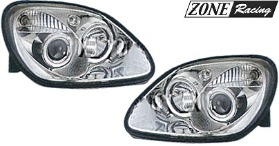 【M's】R170 ベンツ AMG SLKクラス(1996y-2004y)ZONE Racing製 ハロゲン プロジェクター ヘッド ライト 1P-ルック タイプ-2 (クリアー/クロム)//社外品 ハロゲンライト 日本仕様 左側通行用 ゾーンレーシング Lo-35W 6000k SLK230 SLK320 SLK32 左右 セット 235670