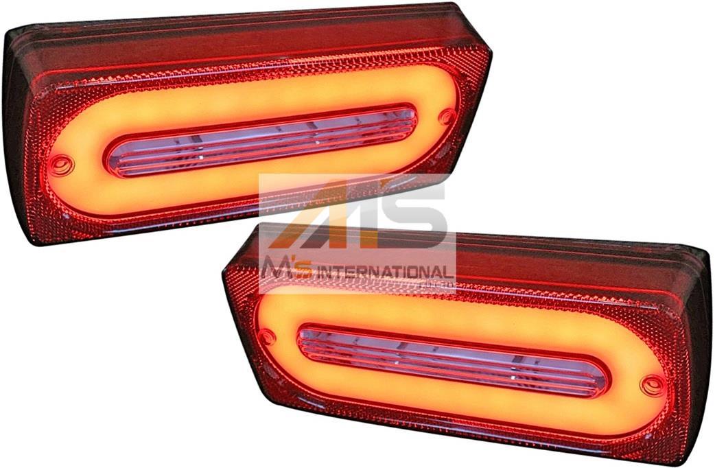 【M's】W463 ベンツ AMG Gクラス(ゲレンデ)チューブLED テールランプ 左右(レッドクリアー)//社外品 テール ライト レンズ 3851 230GE 300GE 500GE G320 G350 G500 G550 G36 G55 G63 G65