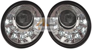 【M's】W463 ベンツ AMG Gクラス(2007y-)7-LED内蔵 バイキセノン対応 ヘッドライト ケース 左右(インナークローム)//社外品 ゲレンデ G350 G500 G550 G55 G63 G65 3464