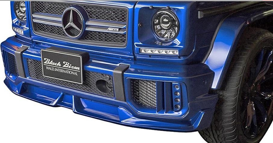 【M's】W463 Mercedes-AMG G63(2013y-)WALD Black Bison フロントスポイラー (エンドモール/黒 付属)//HYBRID製 CARBON FRP カーボン エアロ ヴァルド バルド ブラックバイソン ベンツ Gクラス ゲレンデ