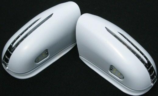 【M's】W220 ベンツ Sクラス(03y~・後期/セダン) アロースタイルW/K付(ウィンカー付き)ミラーカバー左右セット(PT・未塗装)新品