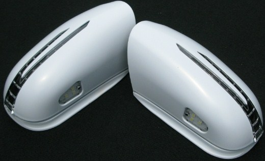 【M's】W220 ベンツ Sクラス(~02y・前期/セダン) アロースタイルW/K付(ウィンカー付き)ミラーカバー左右セット(PT・未塗装)新品