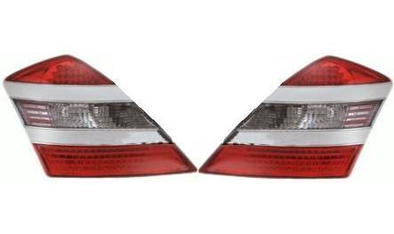 【M's】ベンツ W221 Sクラス LEDテールレンズ (レッド・クリスタル/クリア・レッド)シルバー ガーニッシュ タイプ-1新品(211635)