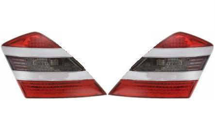 【M's】ベンツ W221 Sクラス LEDテールレンズ (レッド・クリスタル/スモーク・レッド)シルバー ガーニッシュ タイプ-1新品(211638)