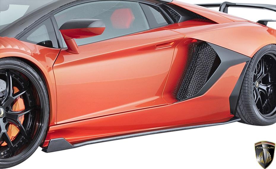 【M's】ランボルギーニ アヴェンタドール (2011y-2018y) AIMGAIN GT type2 サイドワイドスポイラー 左右//FRP製 エイムゲイン エアロ サイドスポイラー サイドステップ カスタム LAMBORGHINI AVENTADOR アベンタドール ランボ アヴェンタ アベンタ