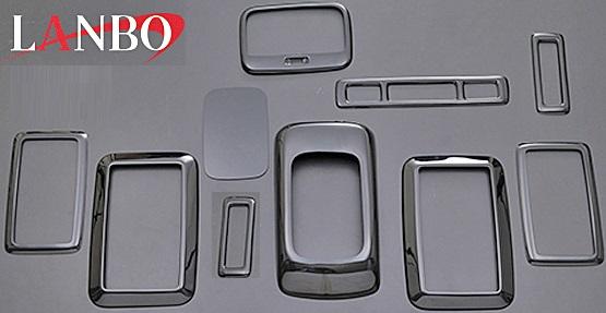 【M's】トヨタ ハイエース 200系 (1/2/3/4型 S-GL)LANBO製 3Dインテリアパネル 10ピースセット (ピアノブラック)//社外品 ABS樹脂 ランボ オリジナル 室内パネル TOYOTA HIACE ハイエース200 200ハイエース 黒艶