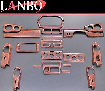 【M's】トヨタ bB QNC20(2005y-2016y)LANBO製 3Dインテリアパネル 20ピースセット (茶木目調)//TOYOTA 社外品 ランボ オリジナル 室内パネル ABS樹脂 ウォールナット