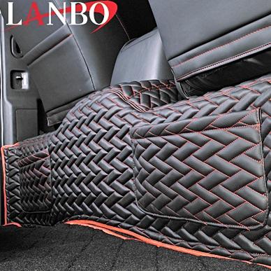 M's トヨタ ハイエース 200系 1-4型 ワイドボディー用 LANBO製 セカンドデッキカバー TYPE LUXE ブラック×レッド×レッドステッチ リヤデッキ TOYOTA LANBO 社外品 迅速な対応で商品をお届け致します 奉呈 ハイエース200 レジアスエース リアデッキ ランボ 200ハイエース HIACE