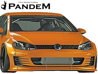 【M's】VW ゴルフ7 5G (2D) PANDEM フロントリップ+リップステイ 2点セット//FRP製 TRA京都 パンデム エアロ エアロパーツ エアロキット フロントスポイラー リップスポイラー フォルクスワーゲン Volkswagen GOLF7 MK7