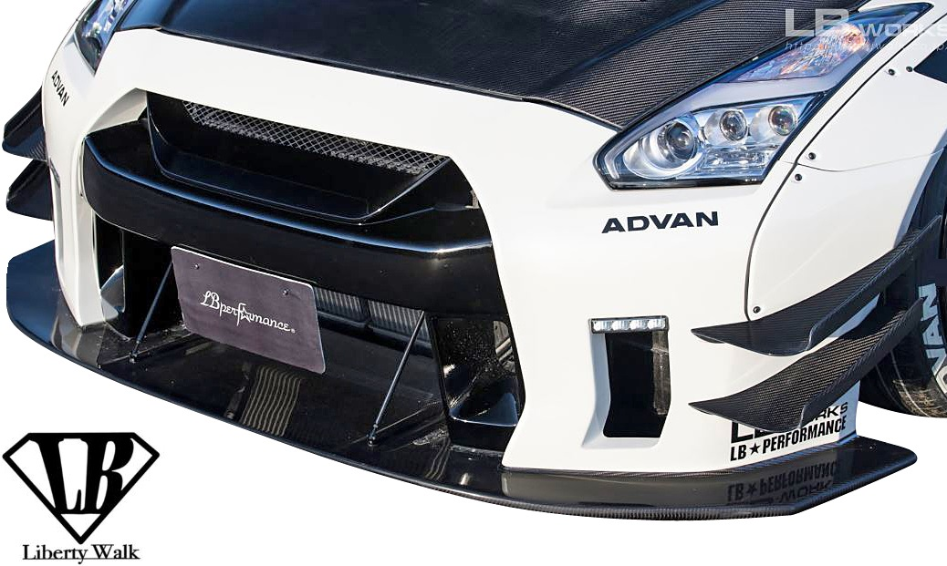 【M's】日産 R35 GT-R (LB-WORKS) フロントバンパー+ディフューザー セット//FRP+カーボン製 CFRP CARBON Liberty Walk リバティーウォーク リバティウォーク リバティー リバティ LB エアロ NISSAN ニッサン スカイライン GTR バンパー