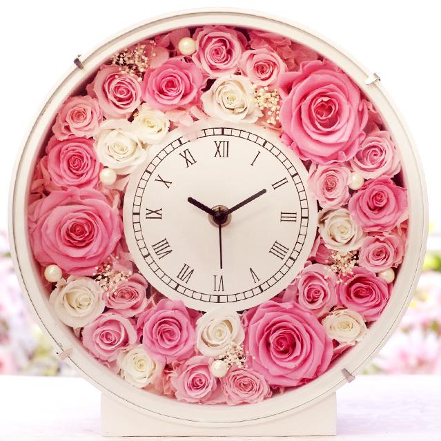 全3色 プリザーブドフラワーの花時計 【楽ギフ_包装】 大き目22cmで存在感◎ [送料無料] 高レビュー!