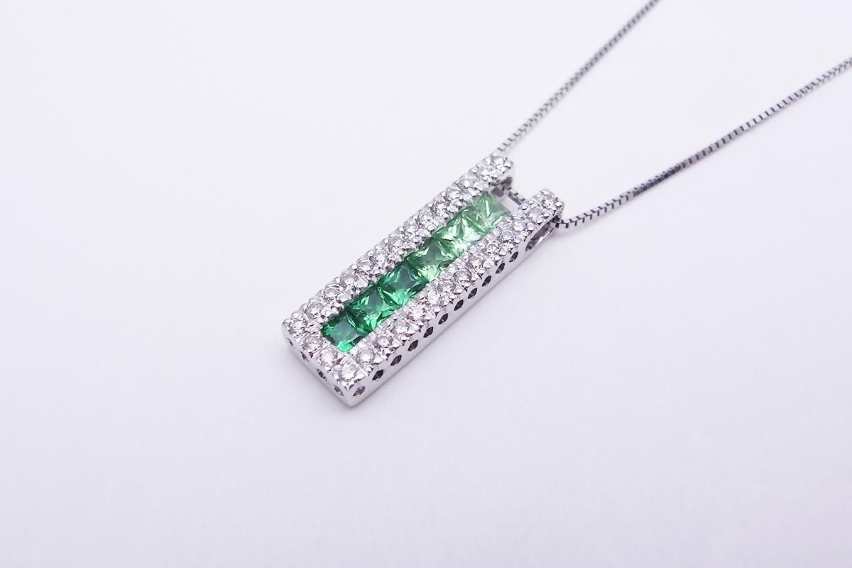 グリーンガーネットダイヤモンドネックレスK18WG 0.70ct 0.20ct 4.1g【中古】程度S【smtb-m】