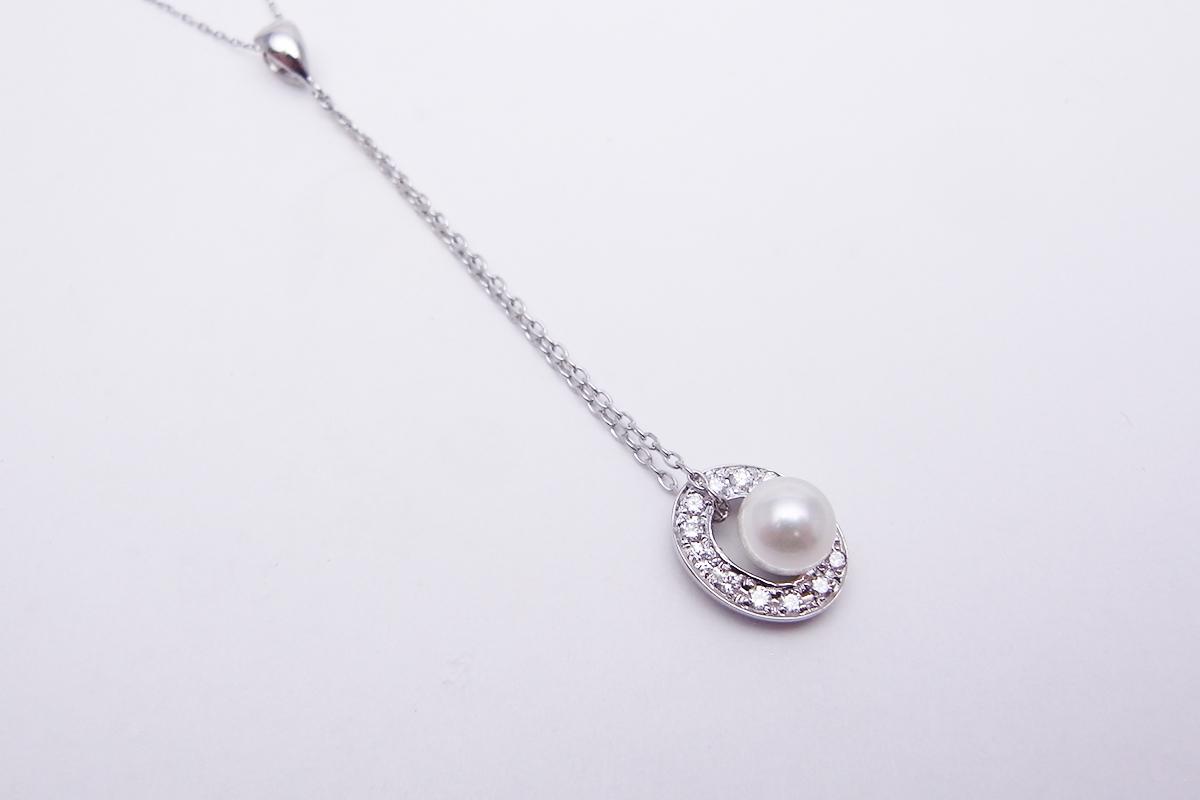 真珠ダイヤモンドネックレスK18WG 6.1mm 0.16ct 3.1g【中古】程度S【smtb-m】