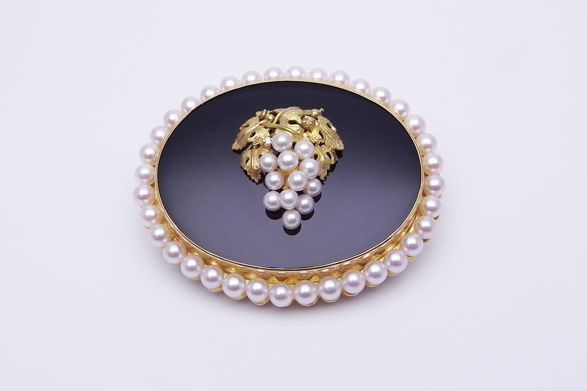 ブドウモチーフ真珠 オニキスダイヤモンド ブローチK18YG 3.1-4.0mm 30.6g【中古】程度SA【smtb-m】