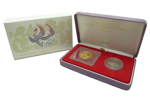 記念コイン天皇陛下御在位十年1万円金貨 純金 20.0g/500円白銅貨 7.2g【中古】程度SA【smtb-m】