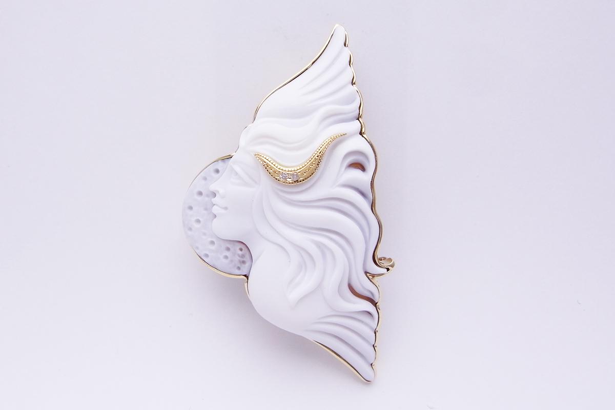 パトリツィア・パルラーティ(Patrizia Parlati)シェルカメオダイヤモンドブローチK18YG 0.02ct 14.5g【中古】程度SA【smtb-m】