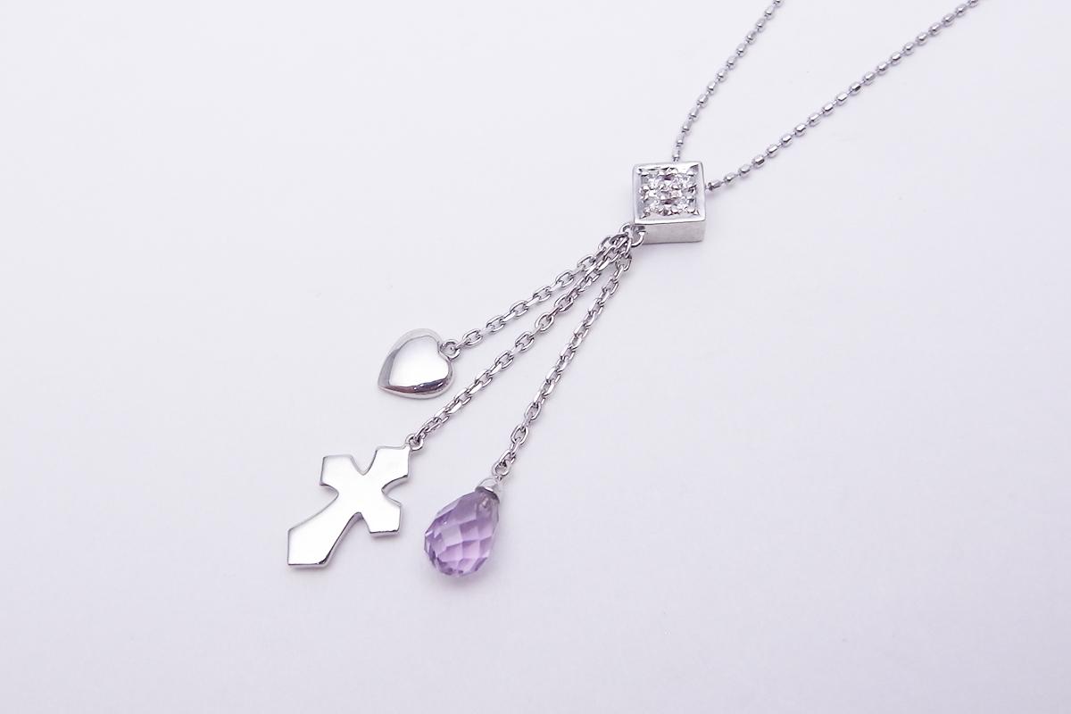 アメシストダイヤモンドネックレスK18WG 0.04ct 3.1g【中古】程度S【smtb-m】