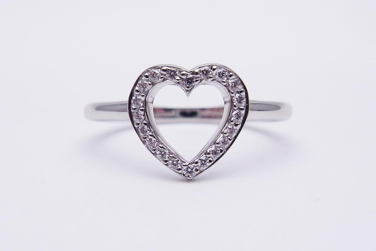 ティファニー(Tiffany&Co.)ダイヤモンドセンチメンタル ハート リングPt950 2.8g【中古】程度S【smtb-m】