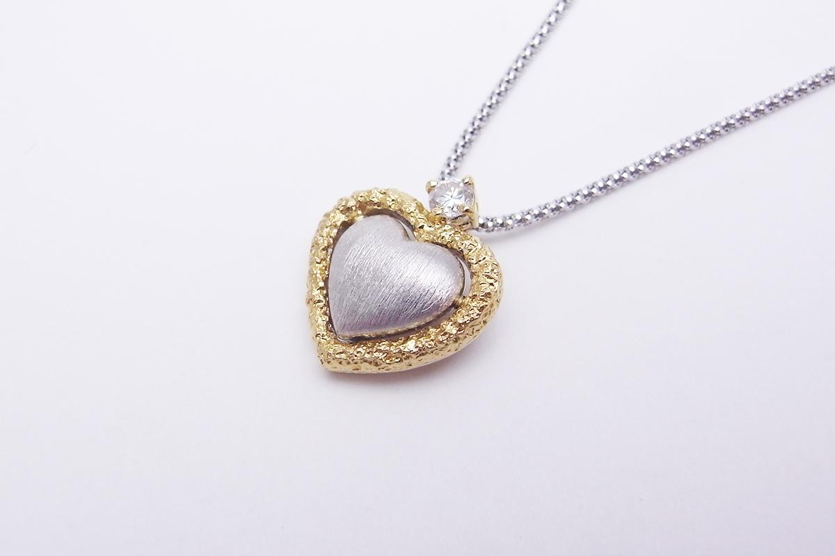 ハートモチーフダイヤモンドネックレスPt900/K18YG/WG 0.13ct 6.0g【中古】程度SA【smtb-m】