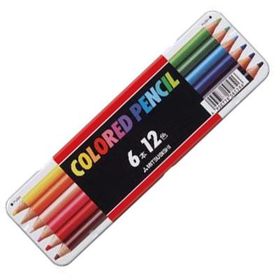 メール便での発送可能 6本入りなのに12色 両端で異なる色が使える便利な色鉛筆です メール便可 三菱色鉛筆 512 正規品 12C スタンダード12色 6本入り 油性色鉛筆 新学期 12色セット 図工 入学 贈答 缶入り メタルケース入り 小学校 子ども 学童用