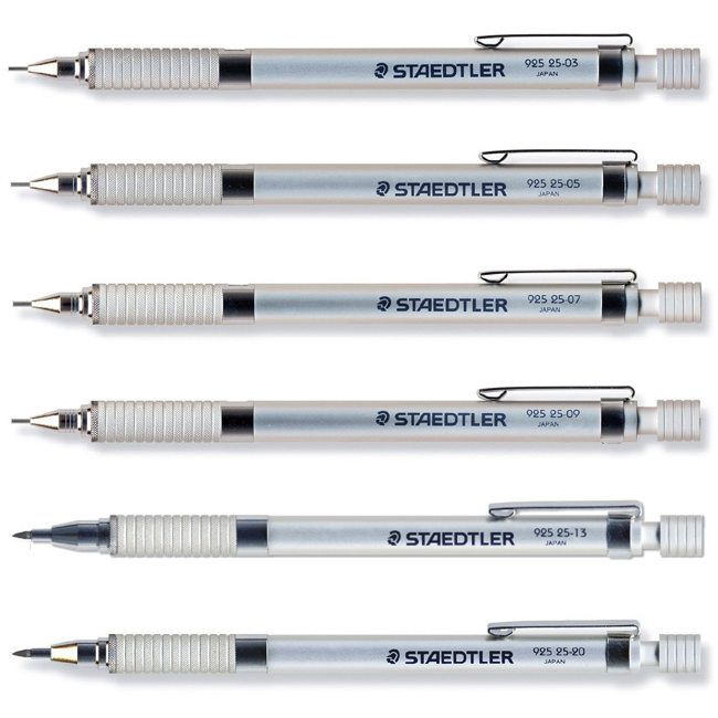 From 92525 mechanical pencil silver series (0.3mm/0.5mm/0.7mm/0.9mm/2.0mm for Staedtler drafting choice)