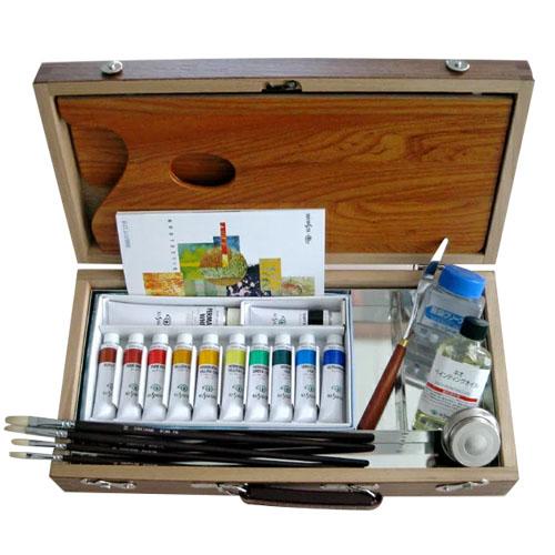 【送料無料】 油彩セット木箱タイプ ベーシック PD BOX (クサカベ油絵具12色セット/55mlネオペンディングオイル/100ml無臭クリーナー/油壺/筆/セット用ナイフ)