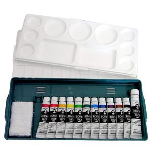 特纳丙烯水粉组合套黄金套 (12 A) 调色板 + 丙烯酸 11 颜色 (11 毫升) + 白色油漆 20 毫升 + 迷你毛巾