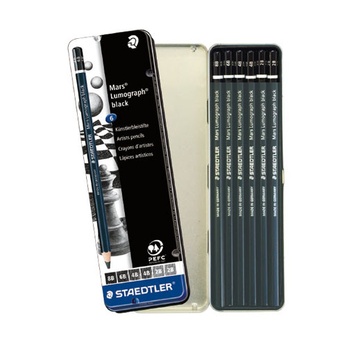 メール便での発送可能 ステッドラーが誇る鉛筆 マルス ルモグラフ シリーズに新しく ブラック が加わりました スケッチ 賜物 6本セット STAEDTLER 描画用高級鉛筆 大幅にプライスダウン メール便可 ステッドラー 100B-G6