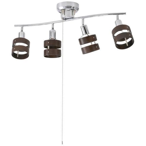 OHM 4灯シーリングライト ウッドリング 電球別売 [品番]06-1490 LT-YN40BW
