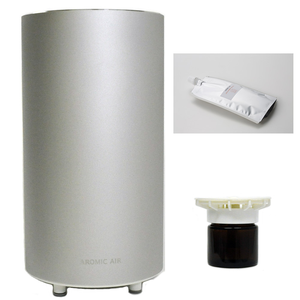 アロマディフューザーセット! アロマスター アロミックエアー クールシルバー 気化式 アロマ ディフューザー と 選べる専用オイル50ml、専用オイルビンセット50ml 付