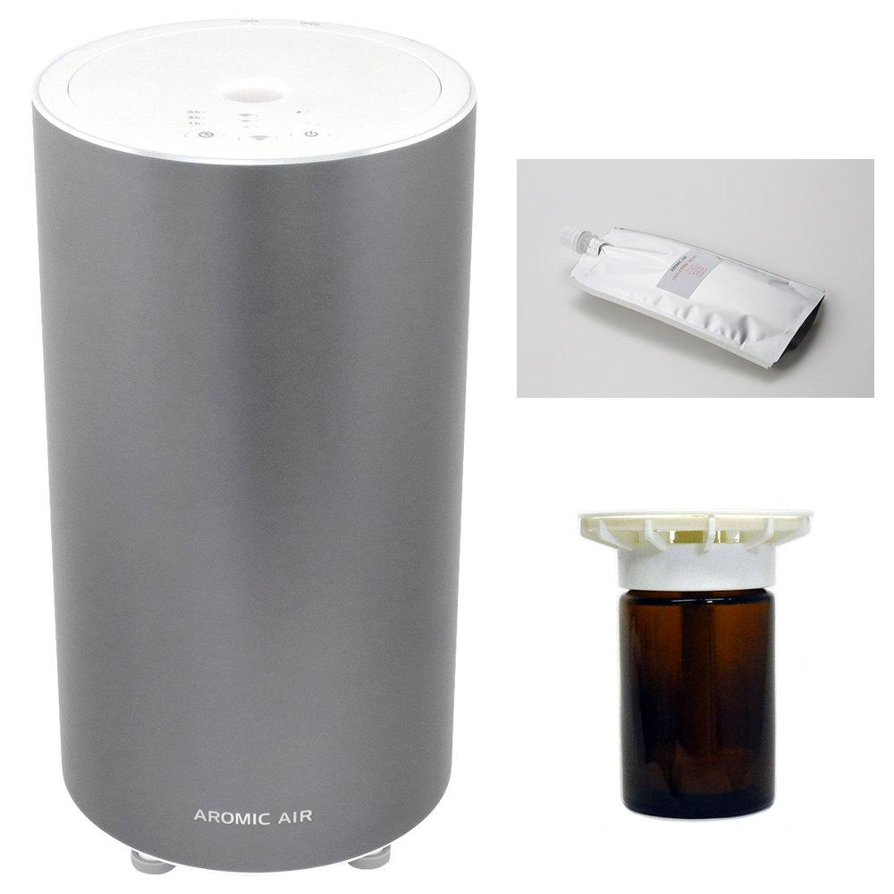 3つの香りを選ぶ! アロミックエアー インペリアルグレー 気化式 アロマ ディフューザー と 選べる3種の香り 専用オイル100ml、専用オイルビンセッ100ml 3個付 【 送料無料 】
