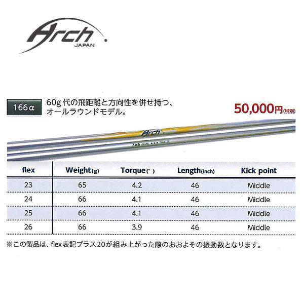 【テーラーメイド M1/M2/M3/M4/R15 スリーブ装着シャフト】 ARCH アーチ For Driver 166α