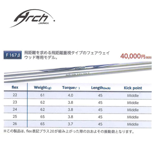 【ピン G400/Gシリーズ/G30 スリーブ装着シャフト】 ARCH アーチ For Fairway Wood F167β
