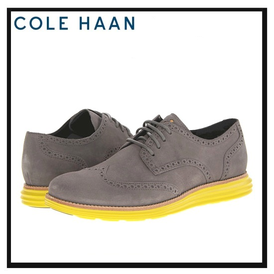 COLE HAAN LUNARGRAND WING TIP (Cole Haan Luna Grand wing tip) mens shoes  leather shoes CHRCL GRY SDE (grey / yellow) C10226 NIKE ...