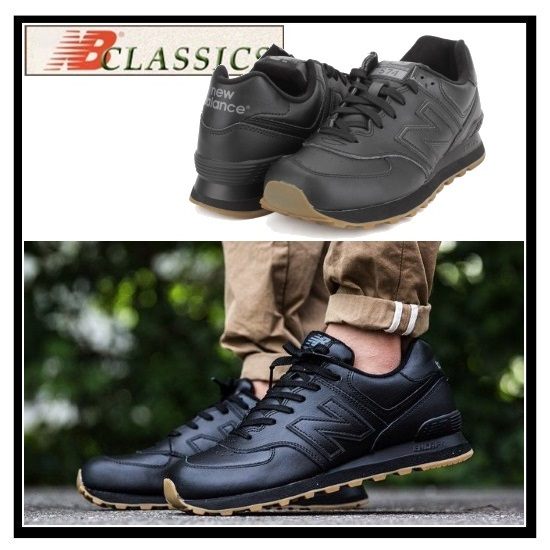 ed96f8fa8 new balance 574 leather black gum