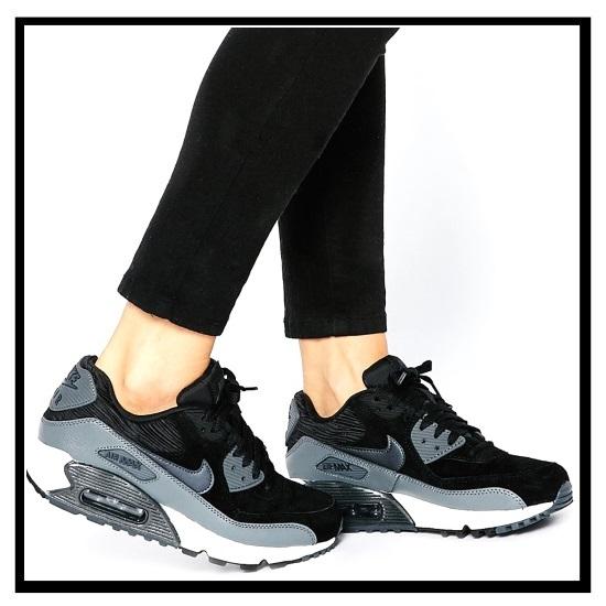 Zapatillas Nike Air Max De La Mujer De Cuero Negro 6UCmY7J