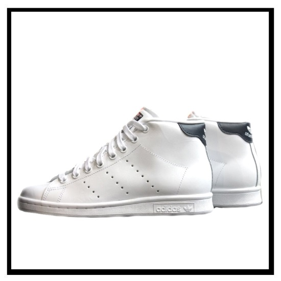 adidas originals white & black stan smith mid top sneakers