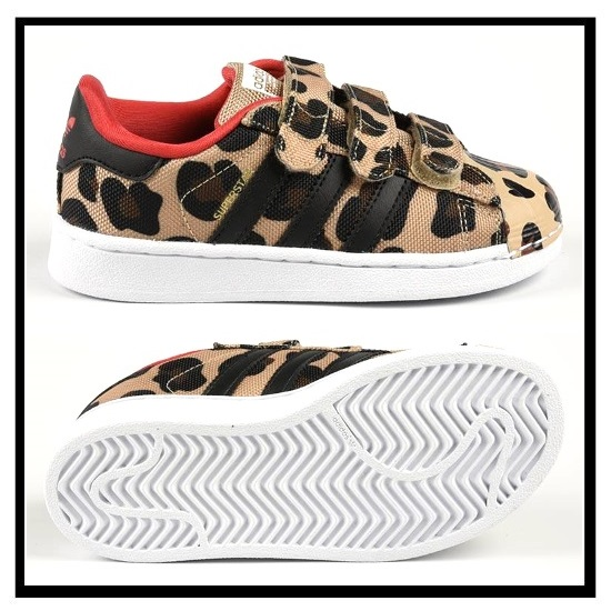 sale retailer 68424 53a41 adidas ORIGINALS (Adidas) SUPERSTAR CF I (superstar CF I) baby & kids  infants Velcro sneakers CBLACK/CBLACK/RED (レオパード pattern mesh) S78980